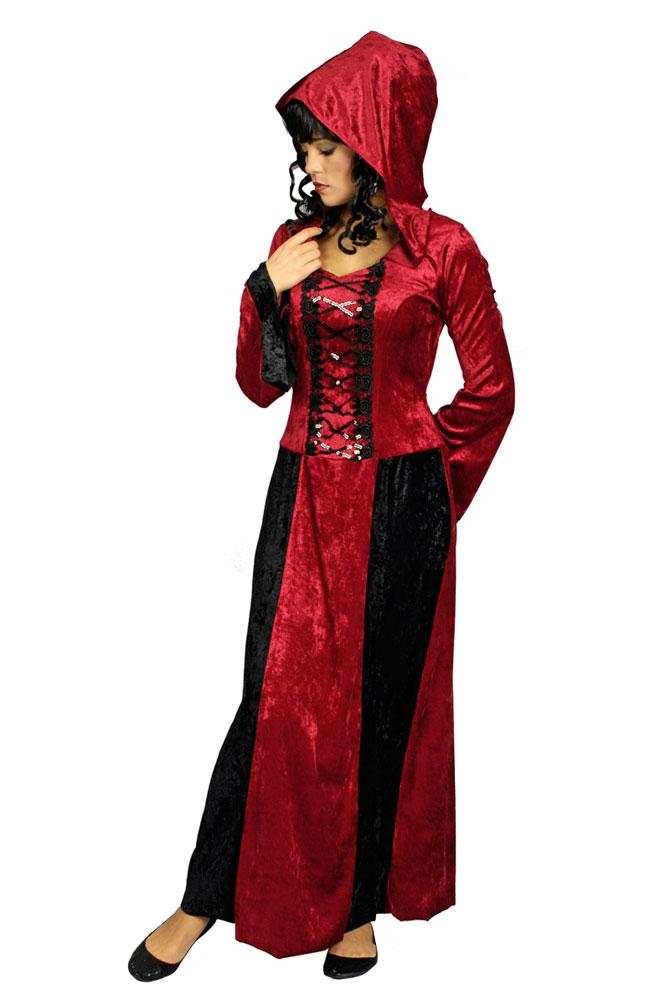 vampir kost m damen dracula kost m schwarz rot halloween. Black Bedroom Furniture Sets. Home Design Ideas