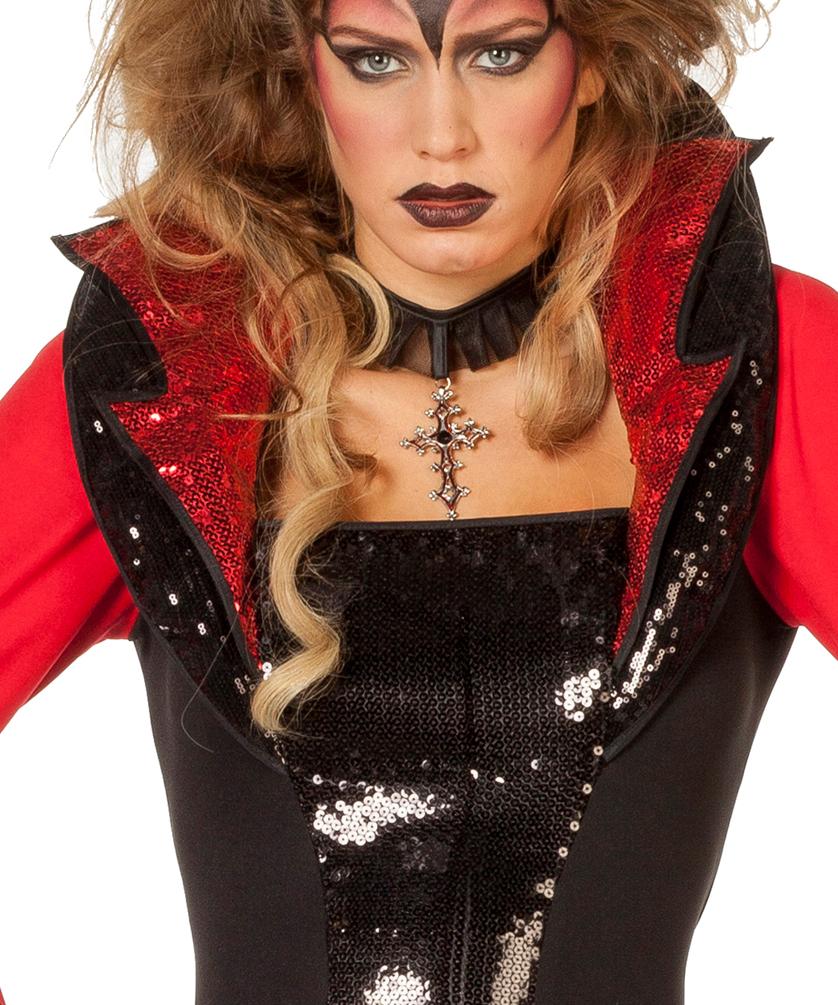 Teufelkostum Damen Mit Pailletten Stoff Rot Schwarz Kostume