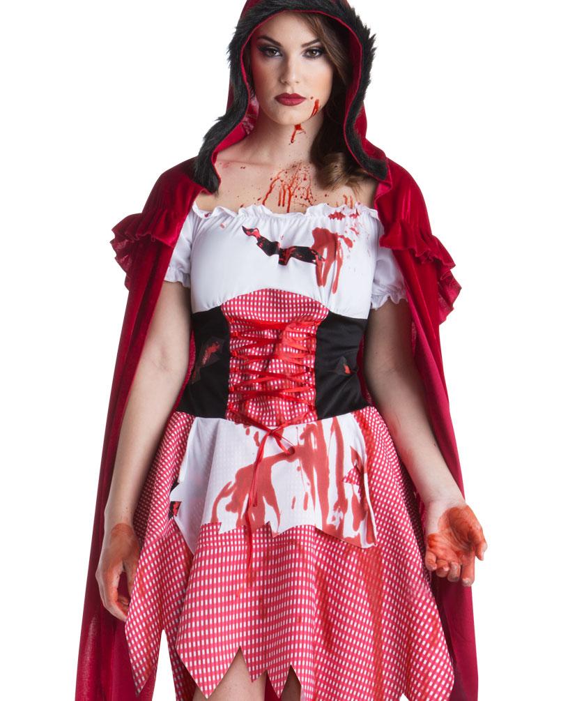 Horror Kostum Damen Blutiges Rotkappchen Kostume