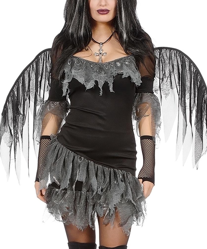 Schwarzer Engel Damen Kostum Mit Flugeln Kostume