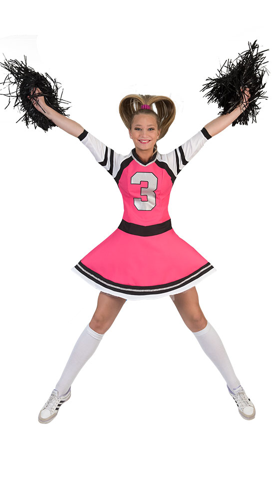 Cheerleader Kostum Damen Pink Schwarz Damen Kostum Cheerleader Kleid