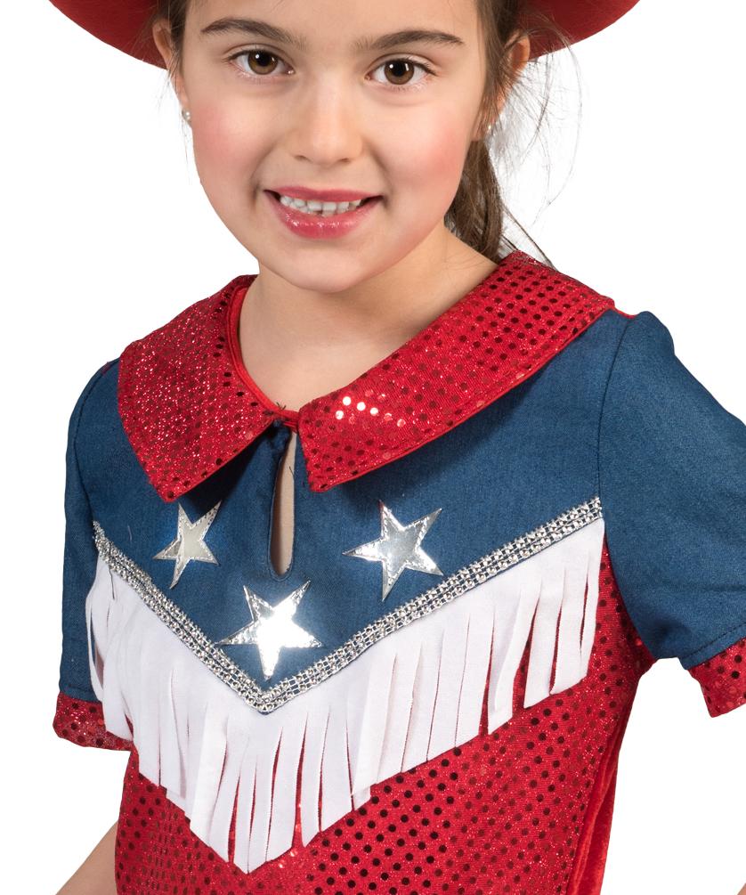 Cowgirl Kostum Kinder Madchen Cowboy Jeans Rot Blau Western Kostum