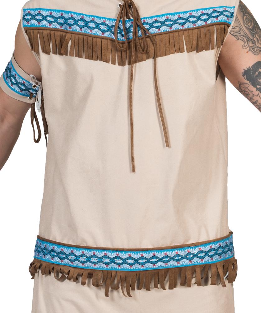 4993113bd6127 Indianer Kostüm Häuptling Herren-Kostüm beige blau