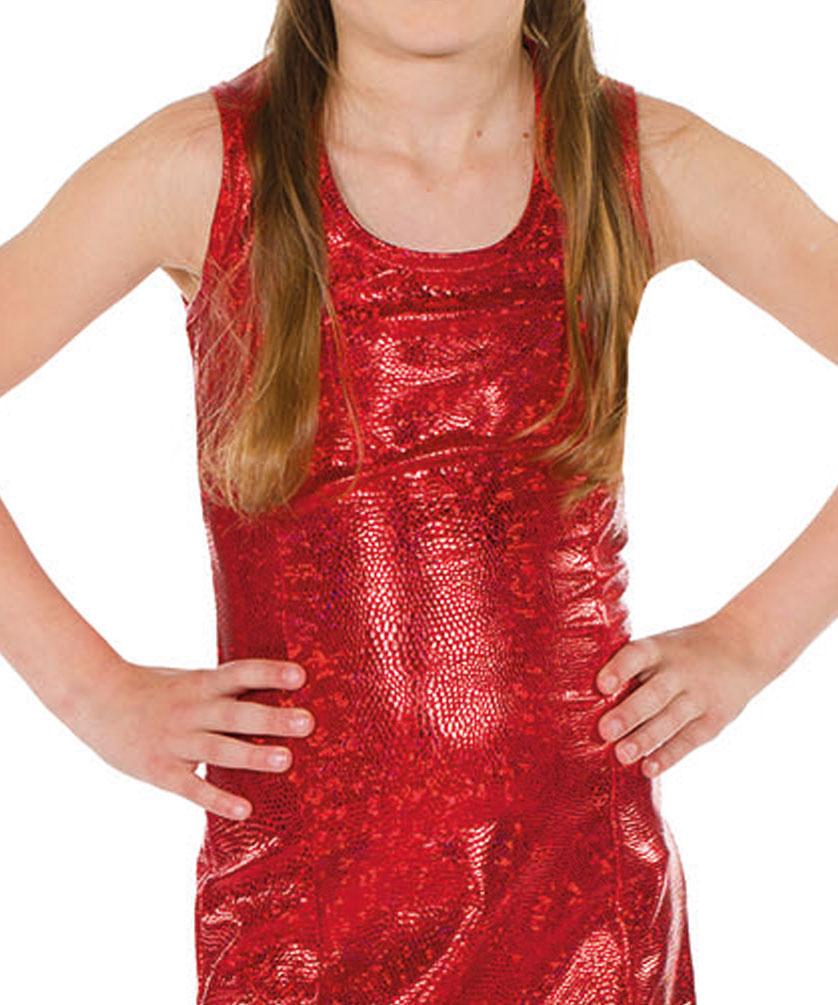 Disco Kostum Madchen Stretch Pailletten Kleid Rot