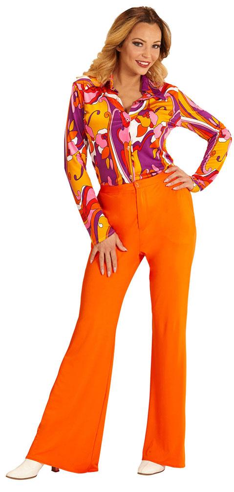 hippie hose damen kost m orange flower power hose damen 70 80er jahre kost me g nstige. Black Bedroom Furniture Sets. Home Design Ideas