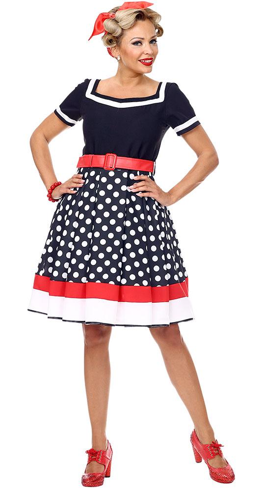 270ddd00ad5c3 50er Jahre Kostüm Damen Rockabilly Kleid mit Petticoat