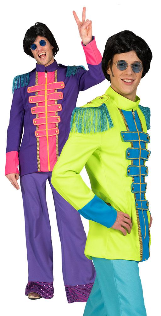 Sergeant Pepper Kostum Herren Beatles Jacke Neon Grun Blau Popstar