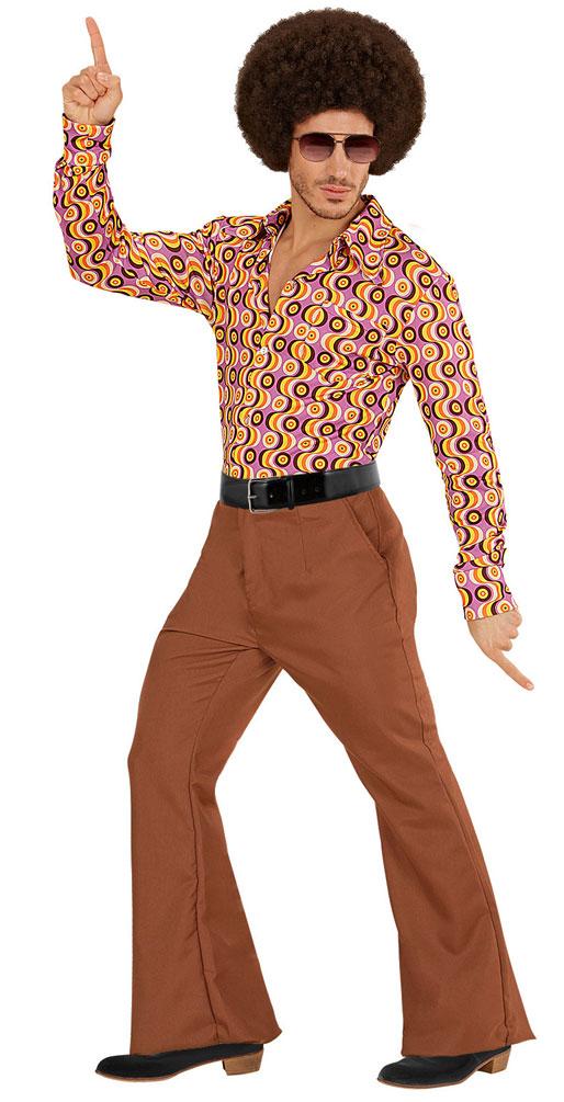 Hippie Hose Herren Kostum Braun Flower Power Hose 70er 80er