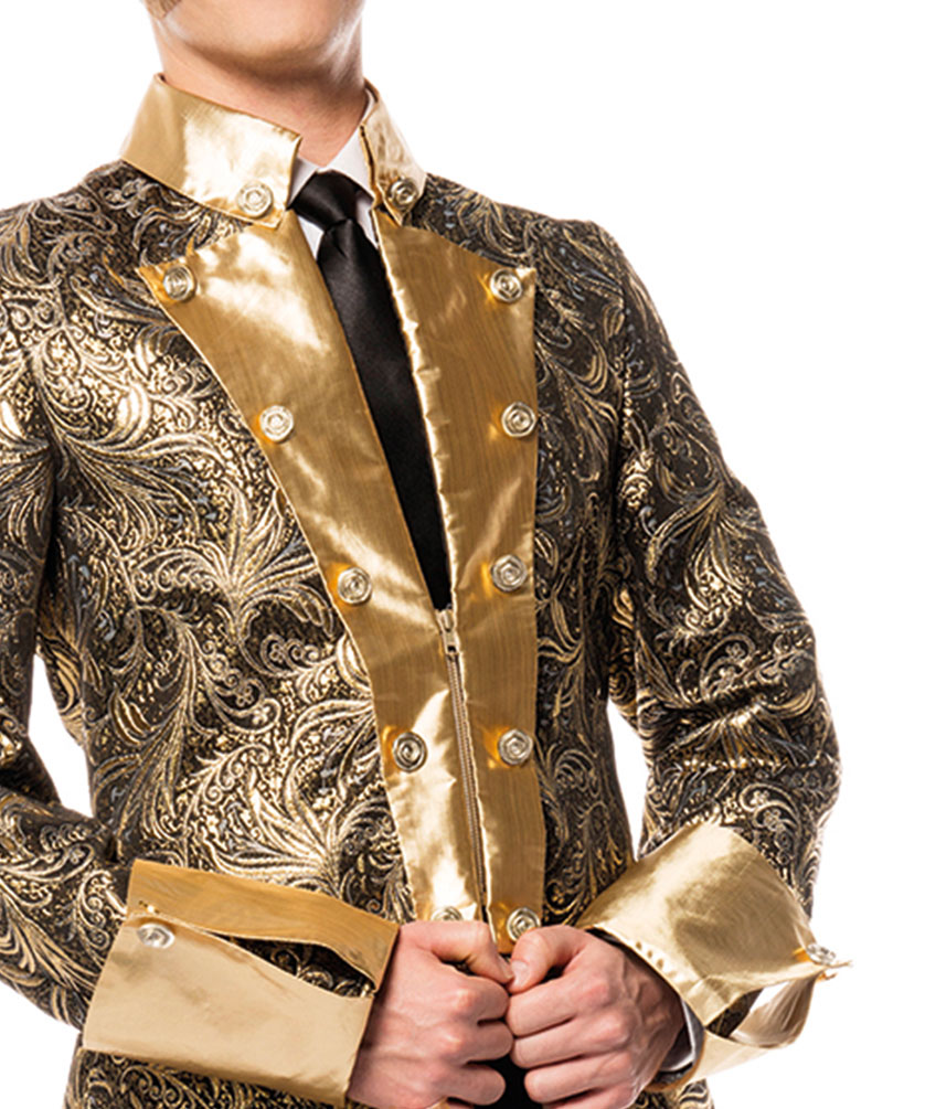 Jacke Brokat Karneval Kostüm Herren gold schwarz