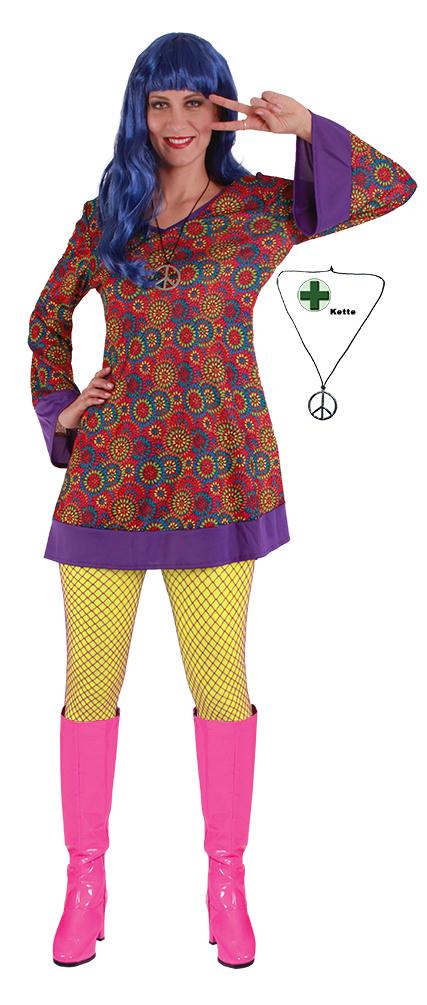 Hippie Kostüm Damen Flower Power Kleid mit Halskette Peace