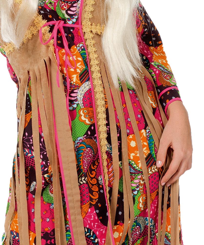 Hippie Kostüm Damen Flower Power 60er 70er Jahre Kleid Damen Kostüm