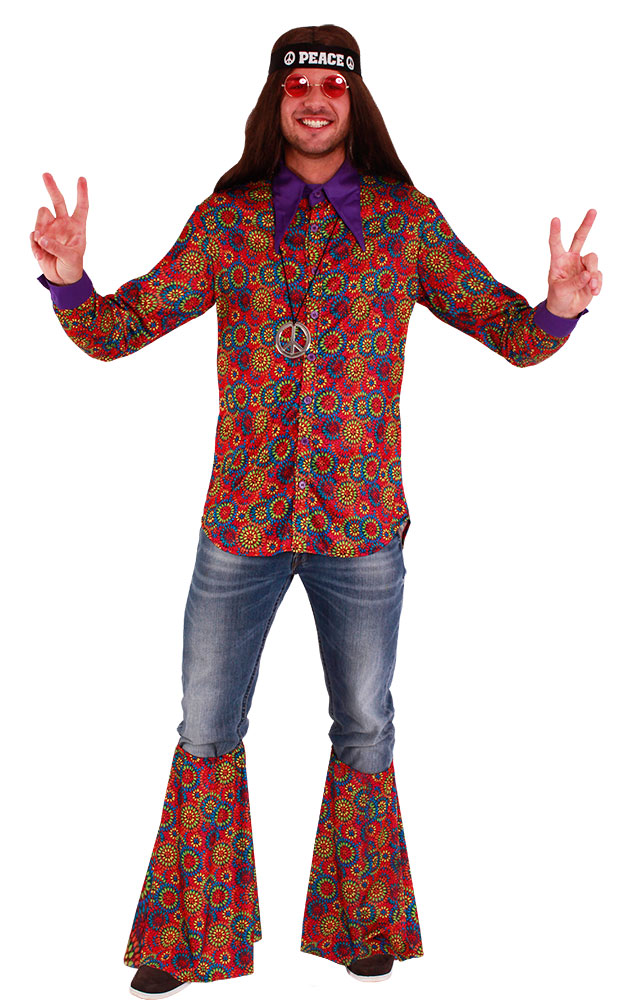 Hippie Kostum Flower Power Schlager Stulpen Beinstulpen Damen Herren