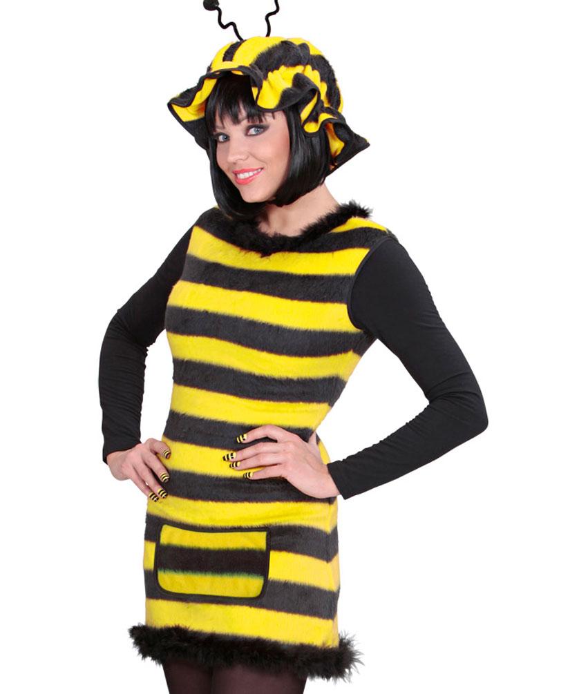 Bienen Damen Kostum Aus Plusch Mit Mutze Bienchen Kleid Kostume