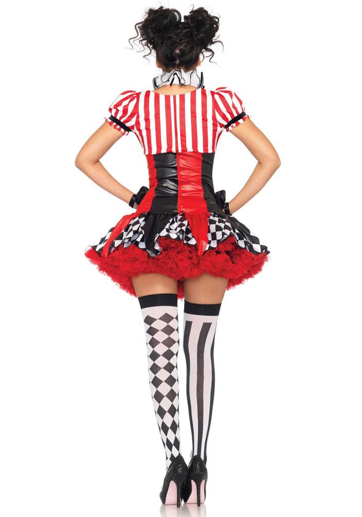 Harlekin Clown Pierrot Frauen Damen Kostum Sexy Schwarz Weiss Rot