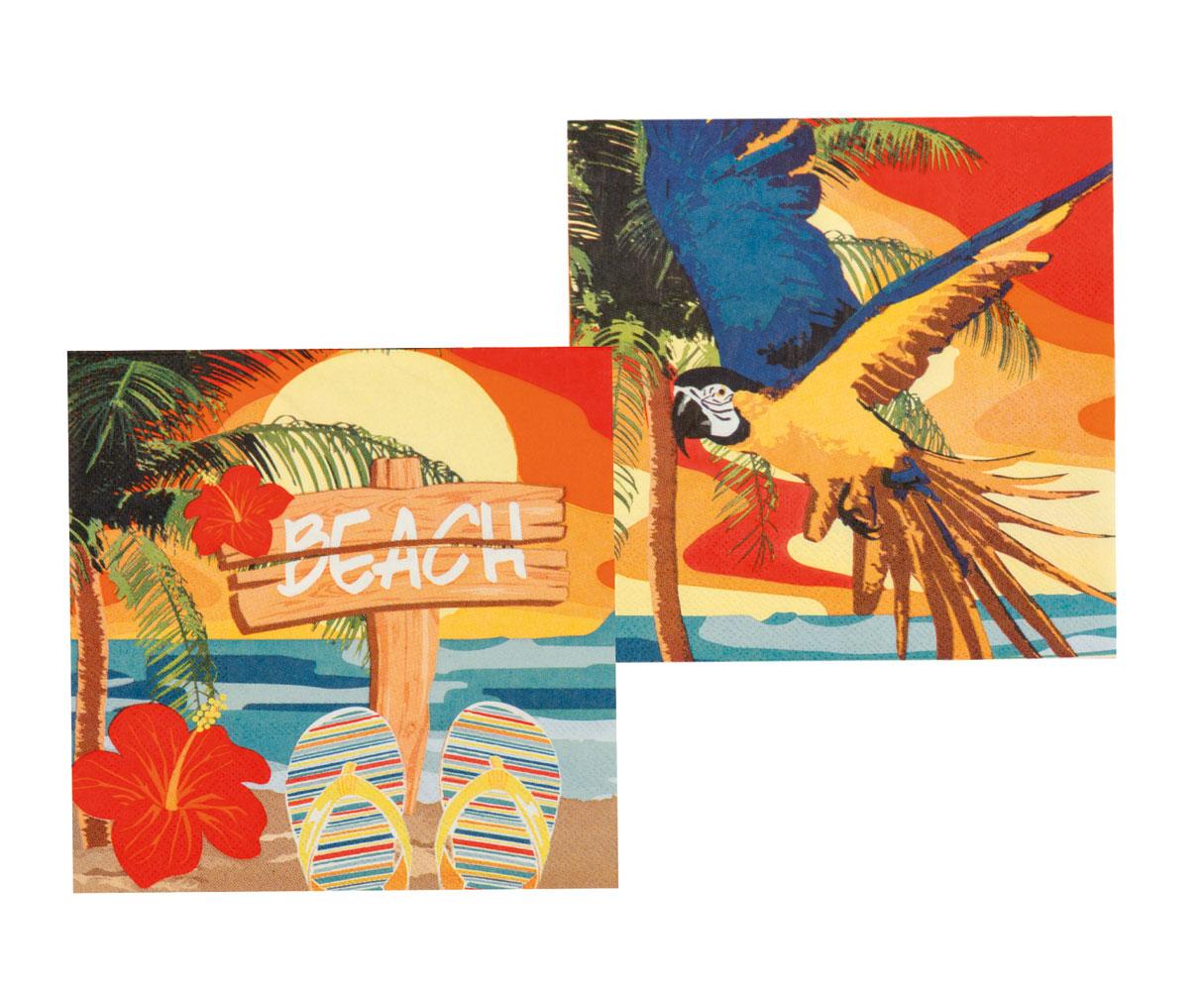 Sommer Party Deko Set Hawaii Beach Teller Becher Servietten Cocktail-Schirmchen