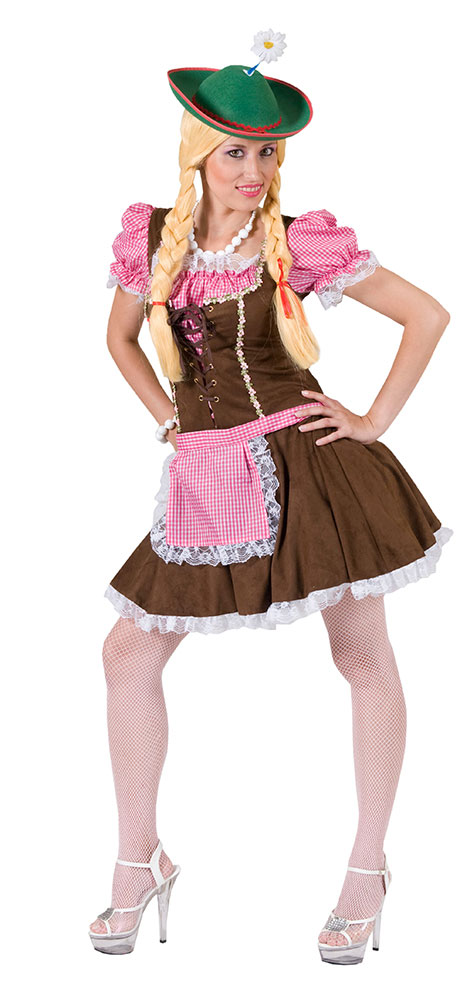 3208215f6fa60f Karneval Kostüme Dirndl Bayern Kostüm Damen braun pink (Kostüme)