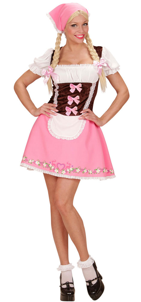 oktoberfest dirndl kost m rosa braun trachtenkleid damen. Black Bedroom Furniture Sets. Home Design Ideas