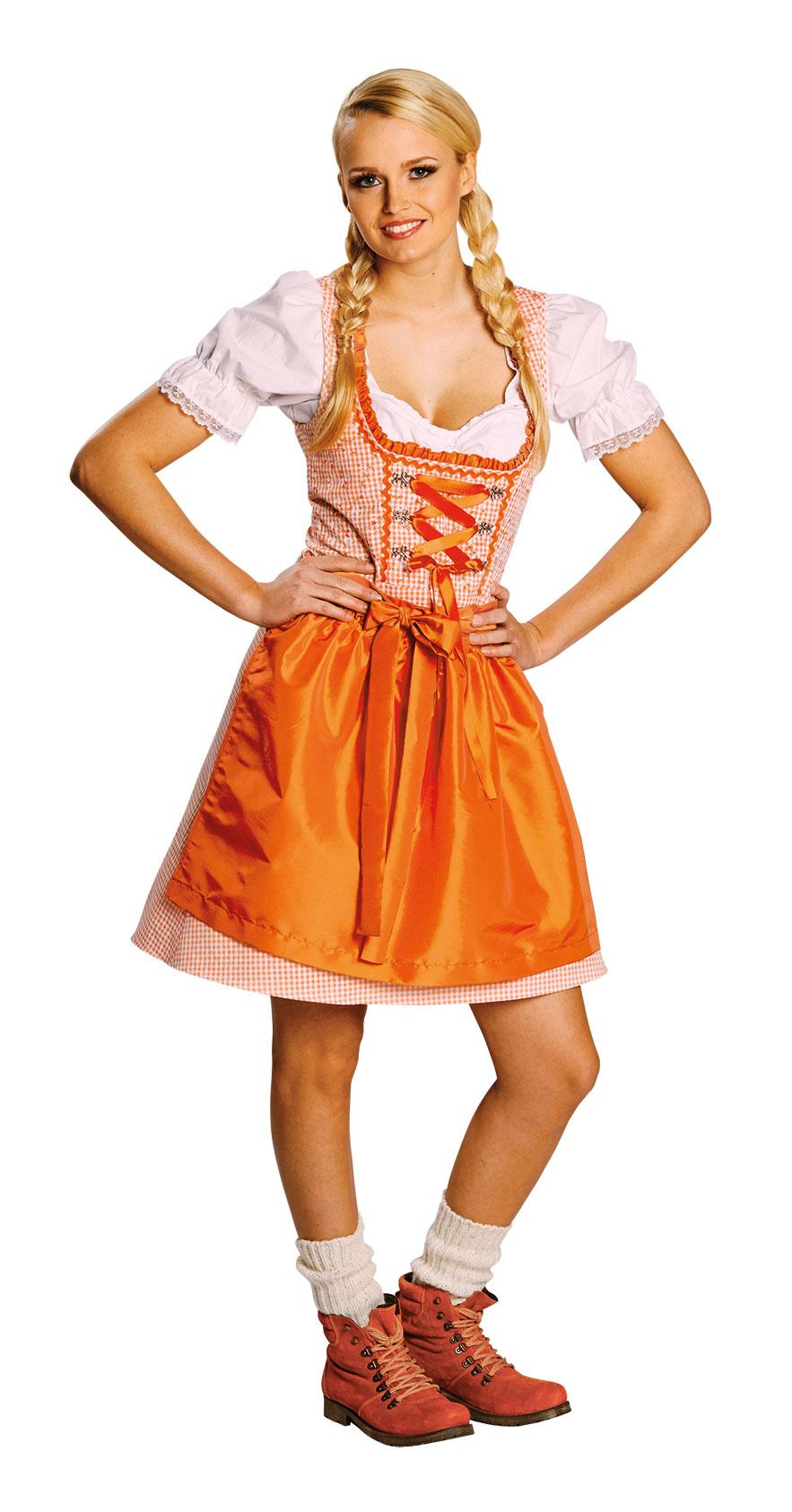 78de92d1477af7 Karneval Kostüme Dirndl mit Schürze lang orange weiß für Damen (Kostüme)