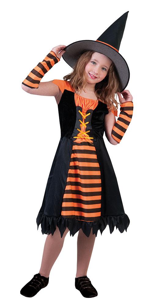 hexenkost m kinder m dchen kost m hexe orange hexenhut halloween kost me g nstige. Black Bedroom Furniture Sets. Home Design Ideas