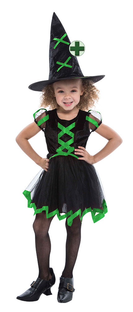 5e685a1a4b0a4 Details zu Hexenkostüm Kinder Hexe grün schwarz mit Hexenhut Halloween Hexe  KK