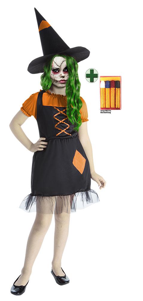 zombie kost m kinder schwarz orange grusel m dchen inkl halloween schminke kk ebay. Black Bedroom Furniture Sets. Home Design Ideas