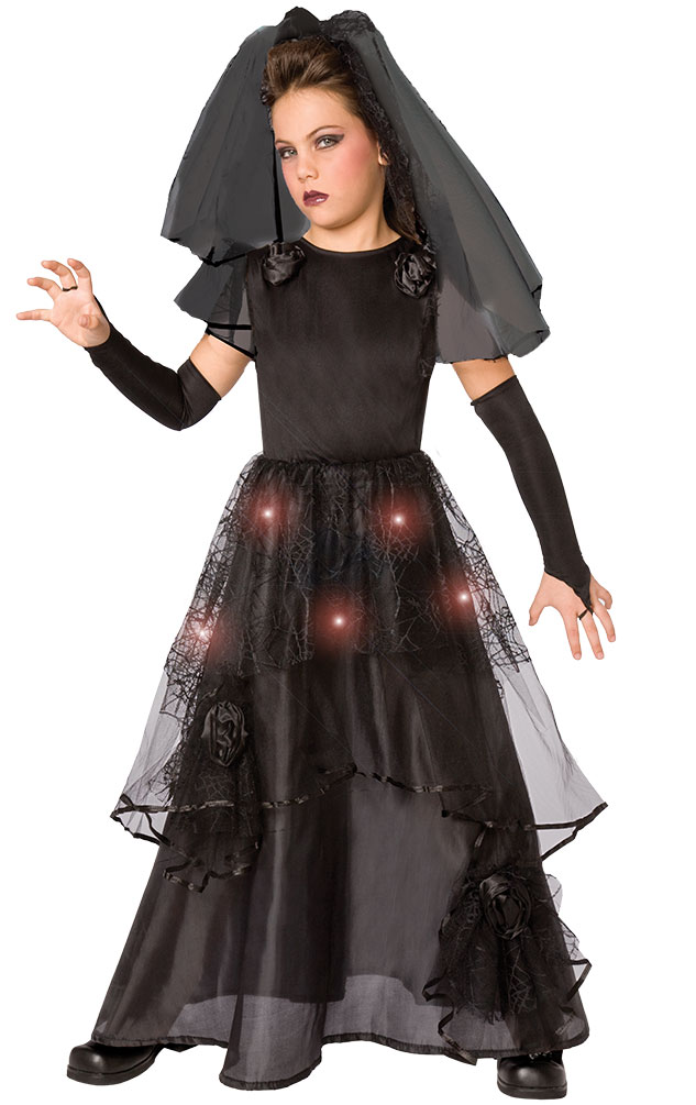 wähle authentisch Auf Abstand bieten viel Gothic Kostüm Kinder Braut schwarz mit Licht