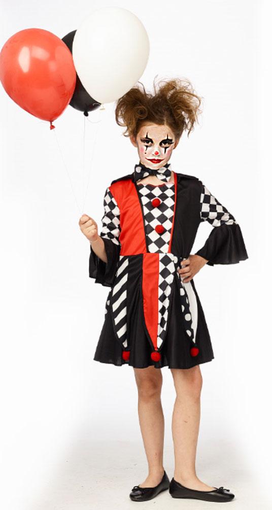 Pierrot Kostum Madchen Clown Schwarz Weiss Rot