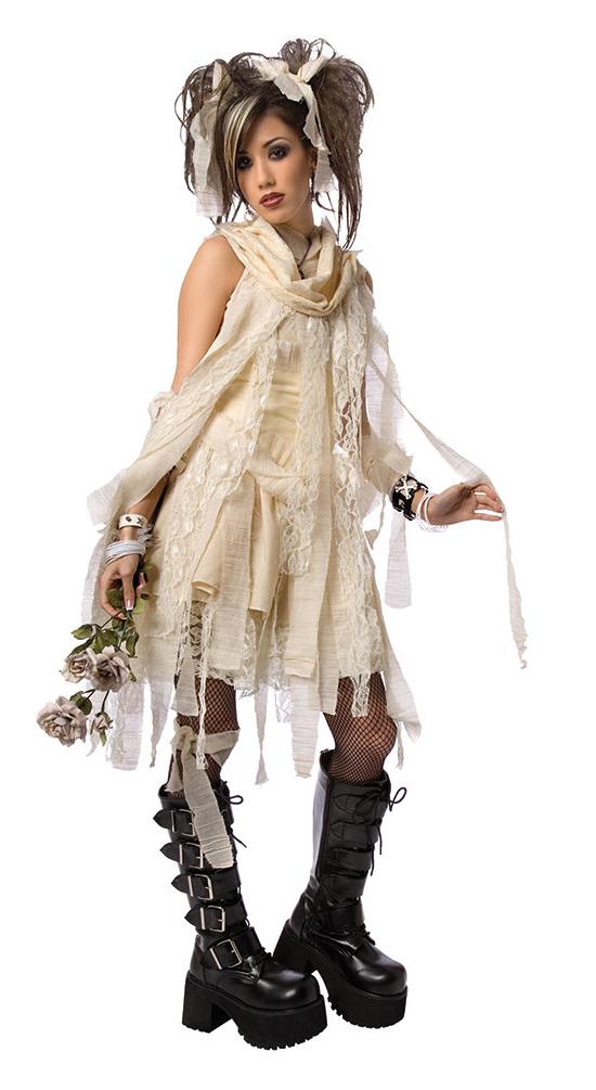horror kostum damen mumie kostum mit schwarzen lippenstift