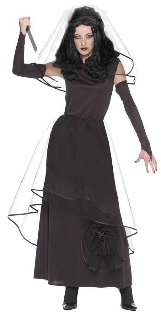 Hexenkostüm Gothic Braut Dame Hexe Halloween Horror Brautkleid ...