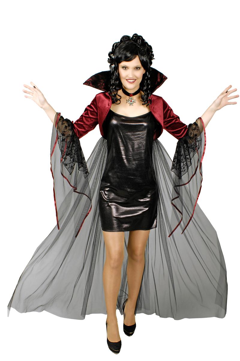 Vampir Kostum Damen Bolero Mit Tull Und Halskette Kostume