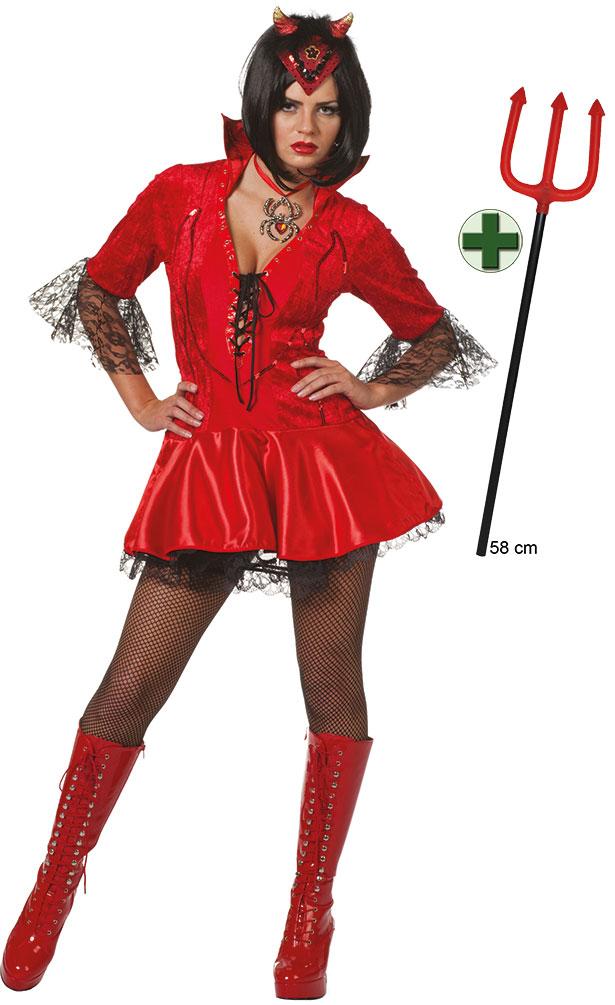 Teufel Kostüm Damen Sexy Teufelin Mit Teufelsgabel Halloween Teufel