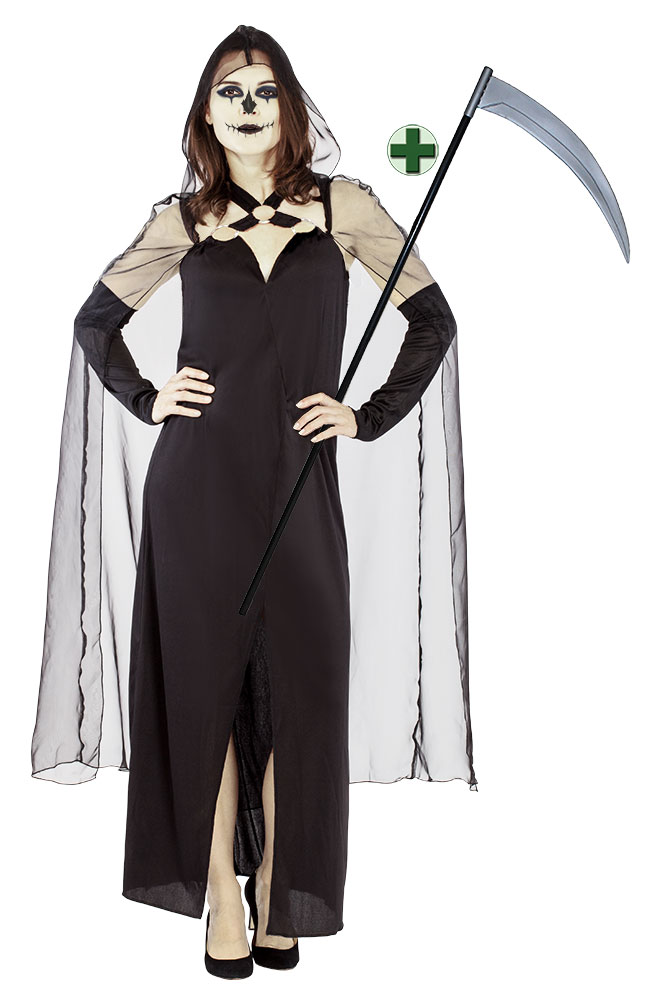 Sensenfrau Kostüm Damen Sensenmann Kostüm Damen Kleid Halloween ...