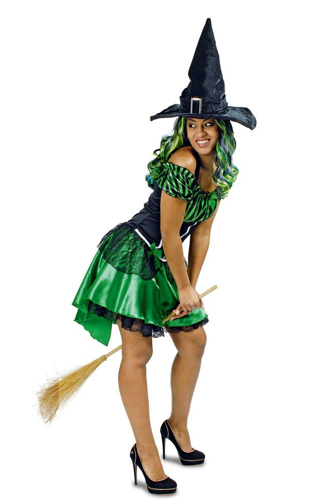 4ad2514dab Hexenkostüm Damen Satin grün schwarz kurz (Kostüme)