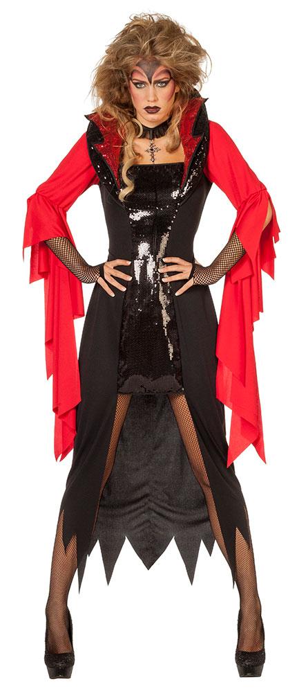 Teufel Kostum Damen Halloween Teufels Kleid Mit Kragen Teufelin
