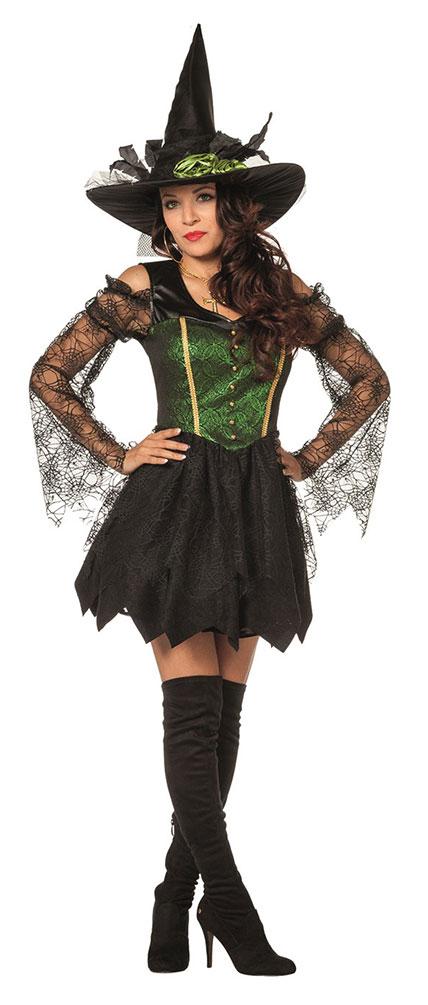 Halloween Hexenkostüm-e Damen Kostüm Luxus Hexe Plus Size Dame Schwarz KK