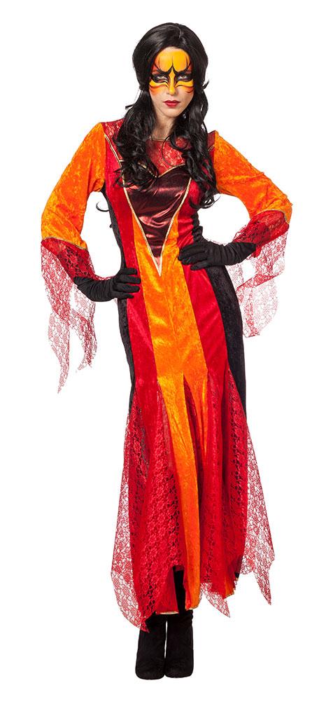 Teufel Kostum Damen Lang Rot Orange Schwarz Mit Tull Kostume