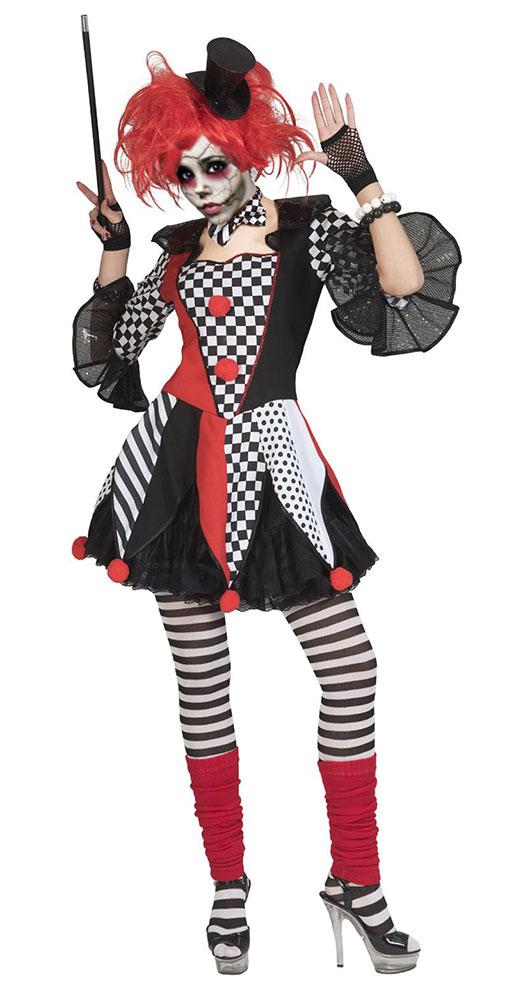 horror kost m damen pierrot clown schwarz wei rot kost me. Black Bedroom Furniture Sets. Home Design Ideas