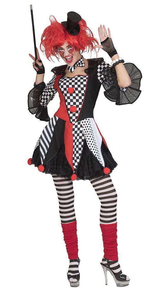 Pierrot Kostum Damen Clown Schwarz Weiss Rot Kostume