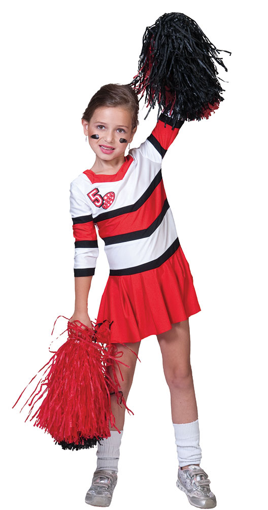 cheerleader kost m kinder m dchen kost m kleid rot wei karneval kost me. Black Bedroom Furniture Sets. Home Design Ideas