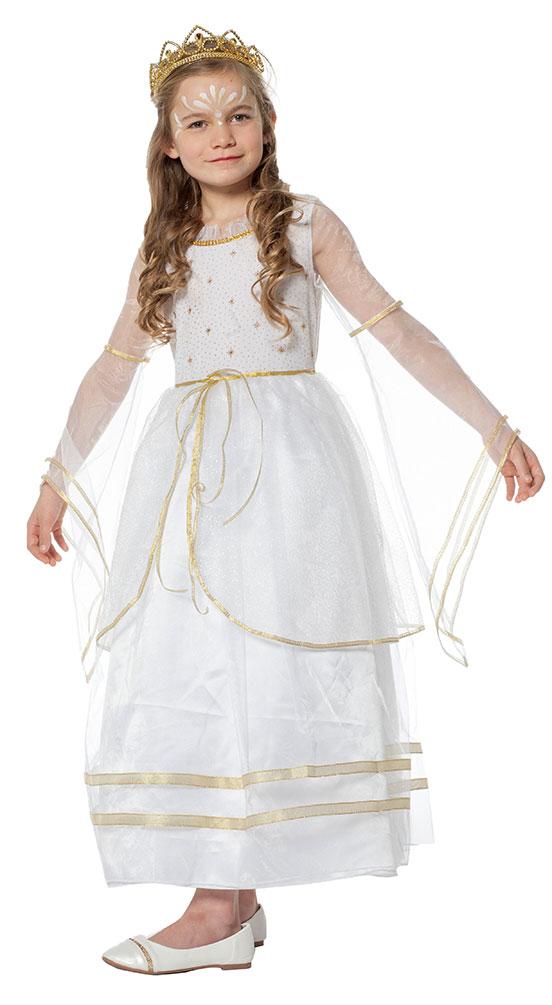 Engel Kostum Kinder Lang Weiss Mit Gold