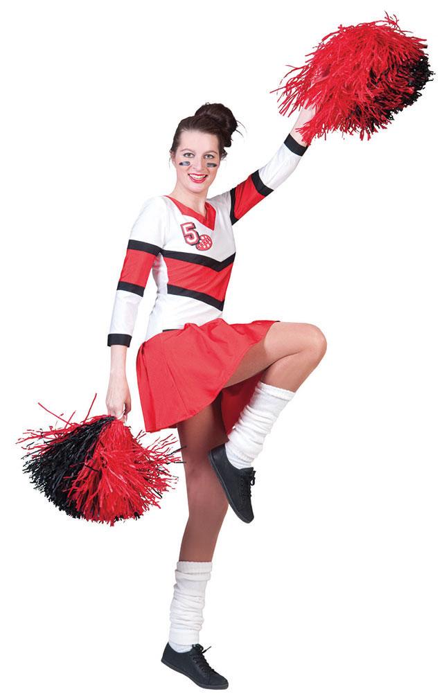 Cheerleader Kostum Damen Sexy Rot Weiss Kleid Langarm Karneval