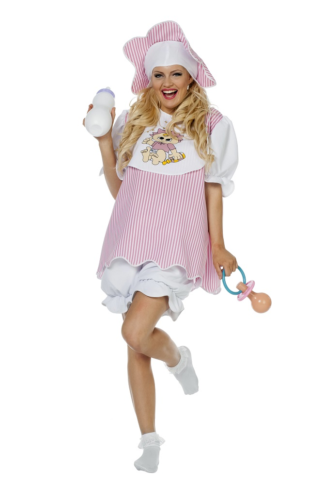 Baby Kostum Erwachsene Damen Kostum Rosa Weiss Karneval Fasching
