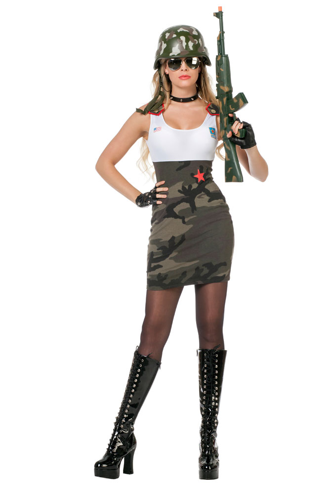 kost m soldatin sexy soldatenkost m damen camouflage kleid milit r armee army kk ebay. Black Bedroom Furniture Sets. Home Design Ideas