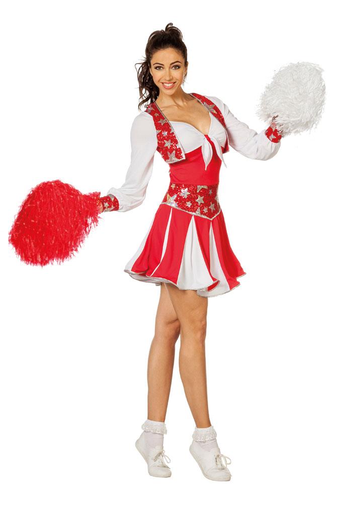 Cheerleader Kostum Damen Sexy Rot Weiss Silber Kleid Langarm Karneval