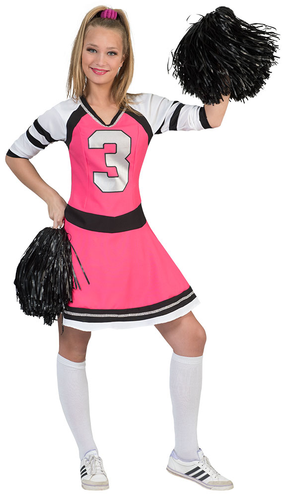 cheerleader kost m damen pink schwarz damen kost m cheerleader kleid kost me g nstige. Black Bedroom Furniture Sets. Home Design Ideas