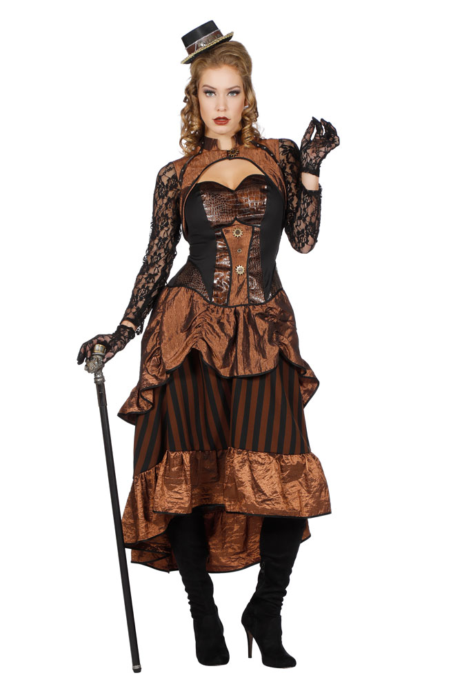 steampunk damen kost m viktorianisches kleid braun schwarz mit spitze kost me. Black Bedroom Furniture Sets. Home Design Ideas