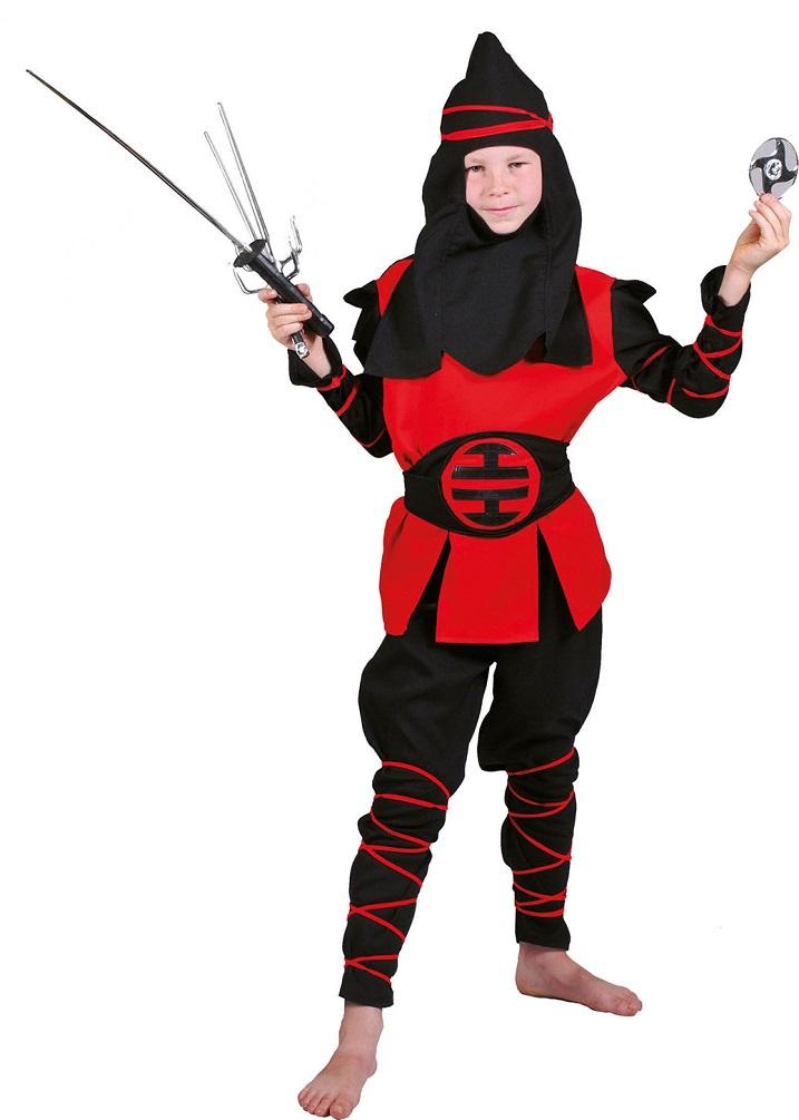 ninja samurai k mpfer kost me f r kinder jungen rot schwarz kost me. Black Bedroom Furniture Sets. Home Design Ideas
