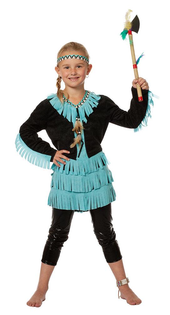 Indianer In Kostum Kinder Madchen Kostum Schwarz Turkis Kinderkostum