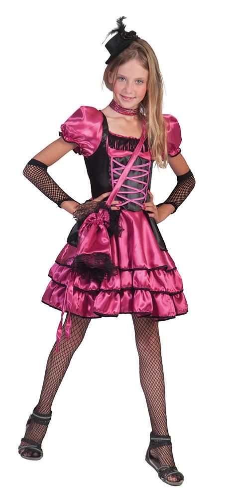 Saloon Girl Can Can Kostum Kinder Madchen Pink Schwarz Western