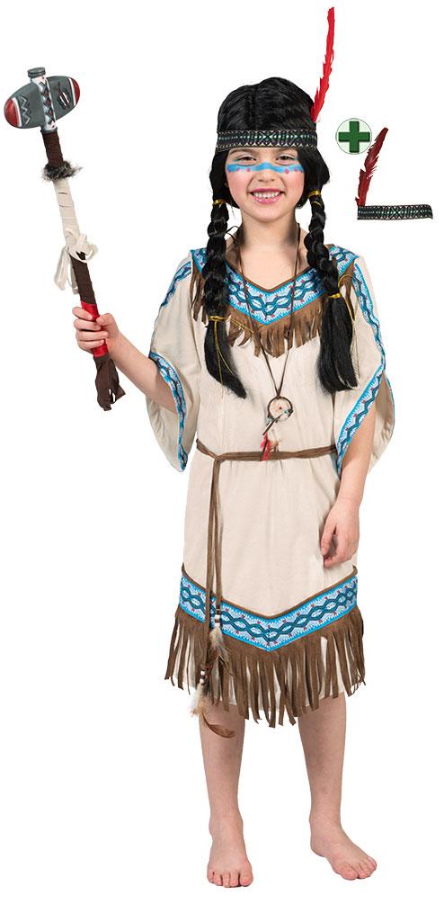 Indianer Kostum Kinder Indianerin Mit Stirnband Pocahontas Beige
